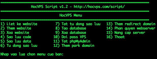 HocVPS Script v1.2