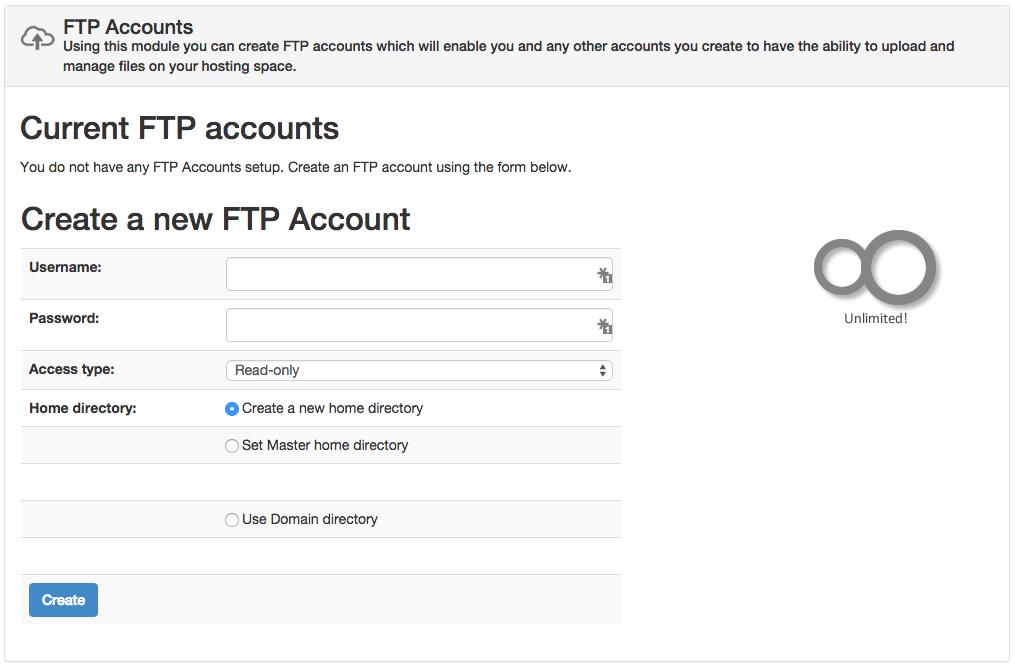 Sentora FTP Accounts
