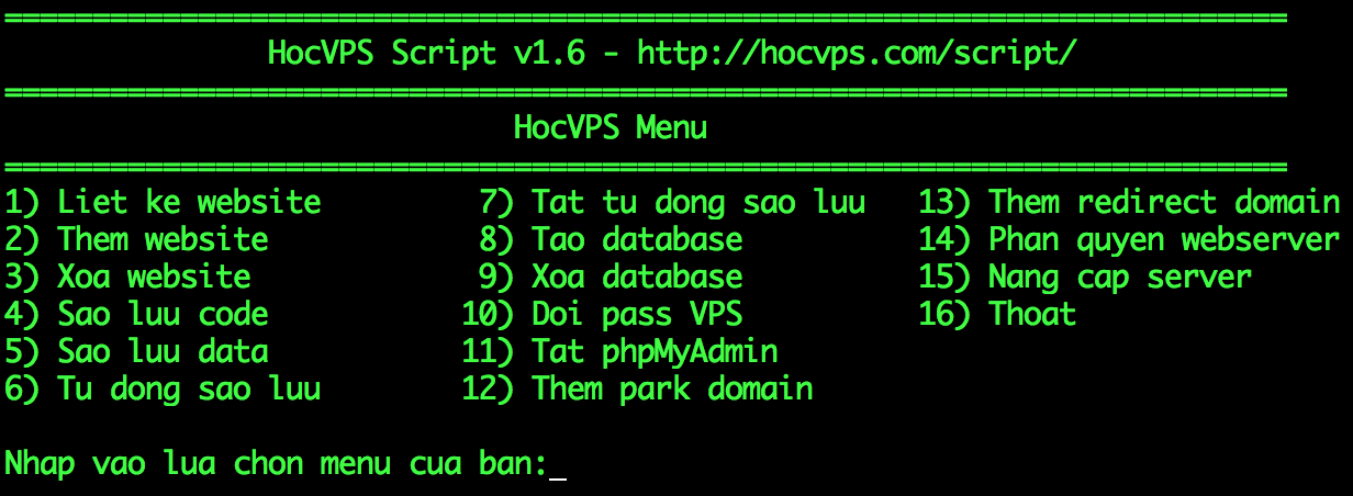 HocVPS Script v1.6