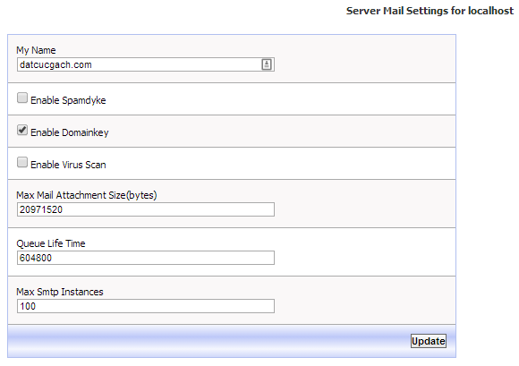 kloxo server mail setting