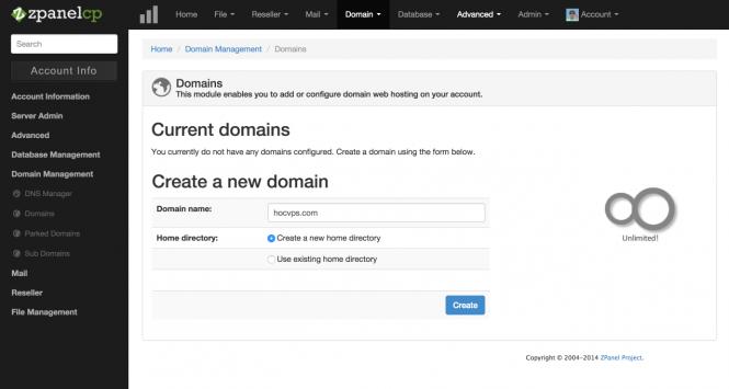ZPanel them domain