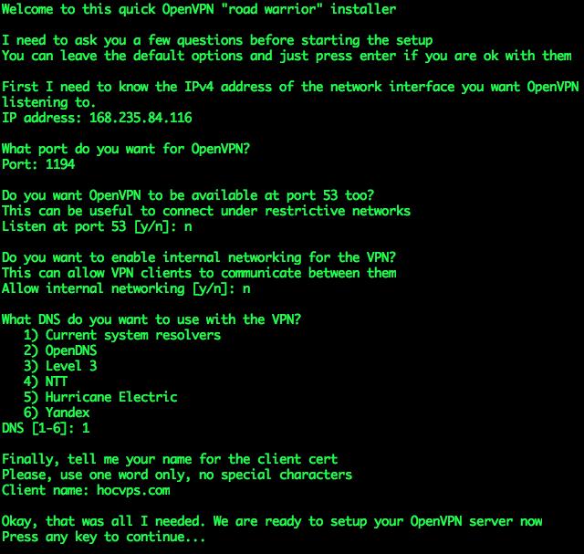 Setup OpenVPN Server