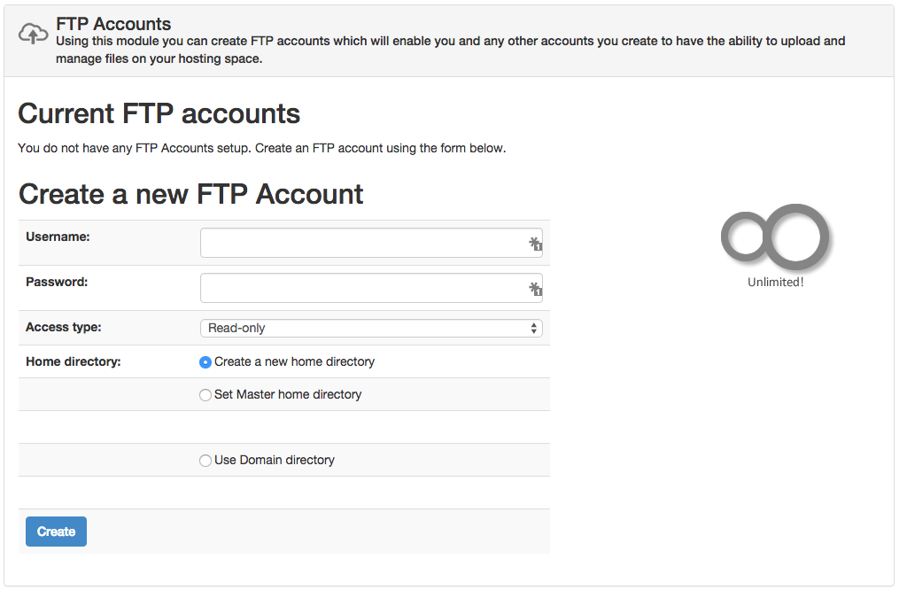 Sentora FTP Accounts