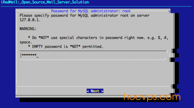 iRedMail MySQL root Password
