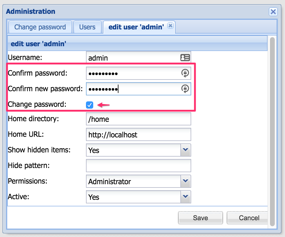 Change Password Admin